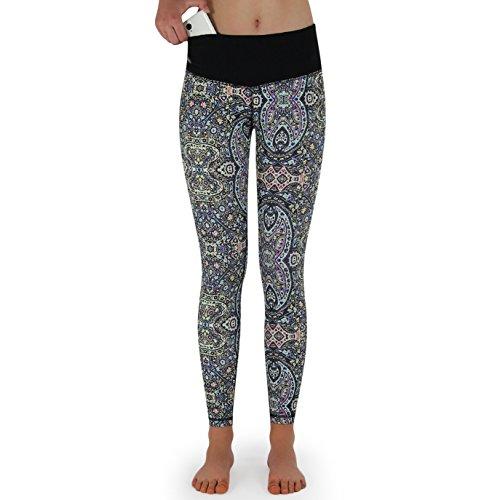 Formbelt Damen Yoga-Leggings Bunt mit Tasche Lang - Leggins Yoga-Hose Print Hüfttasche für Smartphone iPhone Handy Schlüssel (Spirit One M Mehrfarbig)