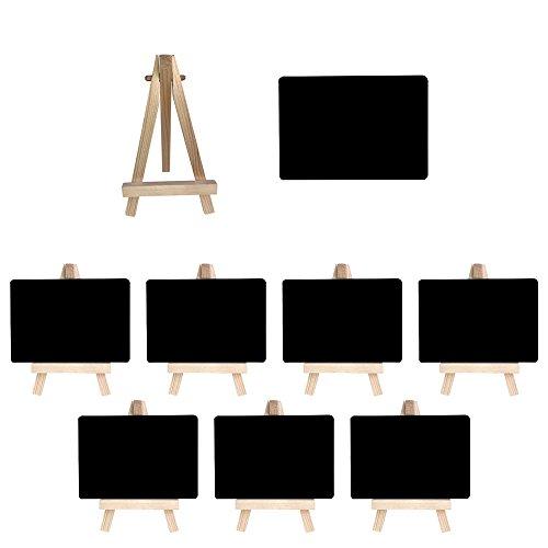 Mehrondo 8 Stück Staffelei mit solider Kunststoff-Tafel ST107 ideal für Namensschilder und Tischdekoration, Tafeln mit glatter Oberfläche in Größe DIN A7 (105 x 74 mm)
