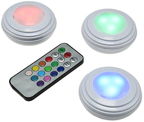 LED Unterbau Aufbau Leuchten Set 3 Leuchten + IR-FB RGB und Weiß Batteriebetrieb Fernbedienung