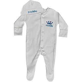 Baby Boy's Personalised Prince Crown Sleepsuit & Hat Gift Set (0-3 Months, Sleepsuit & Hat Set)