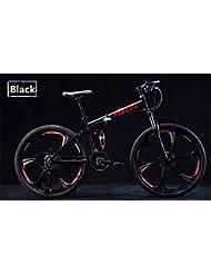 ZYPMM bicicleta de montaña / ciclismo 27 (24) (21) Velocidad de 26 pulgadas plegable / 700CC unisex adulto / hombres / niño unisex SHIMANO EF-51-8 Disco de freno ( Color : Negro , tamaño : Six spokes )