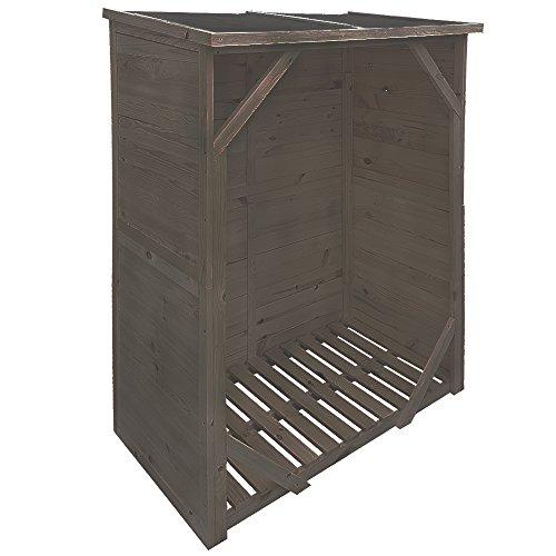 proheim Kaminholzregal XXL 162 x 128 x 72 cm mit Rückwand Brennholzregal mit 1,15m³ Volumen Kaminholzunterstand Bitumen beschichtetes Dach und 100% FSC Holz, Farbe:Anthrazit