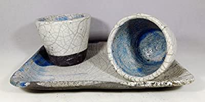 Set of 2 Glasses and Tray Japanese Ceramic Raku color White and Blue - Handmade Pottery - Unique Piece by Mosraku
