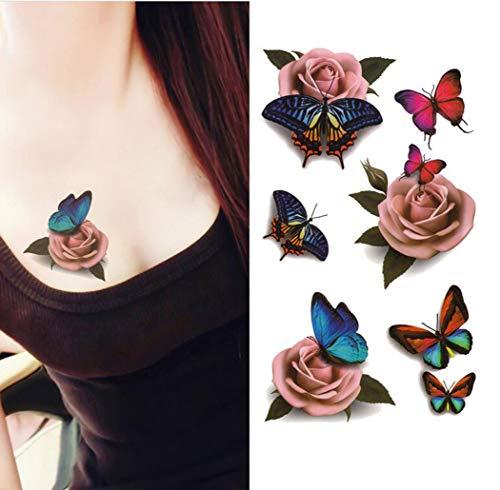 upstore 1Laken (6Stück) 2006Mustern Wasserdicht temporäre 3D Schmetterling Blume Rose Tattoo Sticker Aufkleber Damen DIY Tattoo Art Supply Fake Tattoos Wasser Transfer Körper Tattoos Frauen Lady Girl