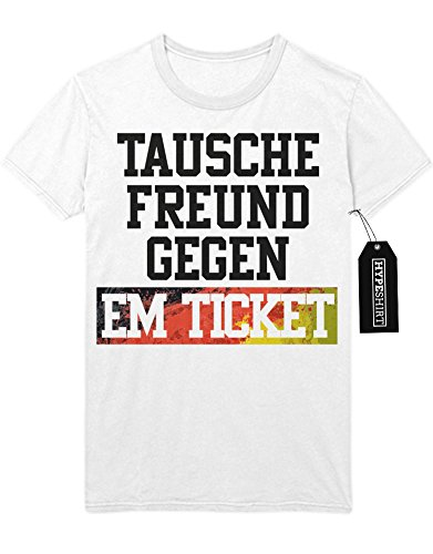 T-Shirt TAUSCHE FREUND GEGEN EM TICKET Europa Meisterschaft Fußball M010101 Weiß
