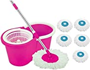 DAIVE's ABI CLEANING SOLUTIONS 360 Degree Spin Floor Cleaning Bucket PVC Mop with 5 Microfiber Refill with