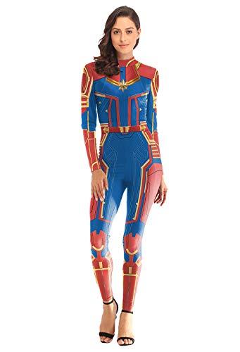URVIP Damen Halloween Party Cosplay 3D Gedruckt Kostüm Overalls Bodysuit One Piece Body Anzug Karneval Fasching B108-018 ()