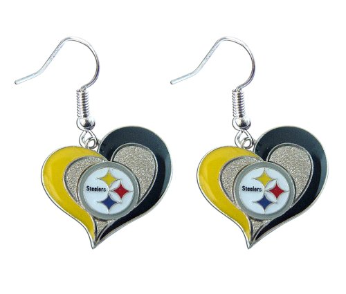 aminco Sports Team Pittsburgh Steelers Logo 3/10,2 cm Swirl Herz Baumeln Ohrring Set