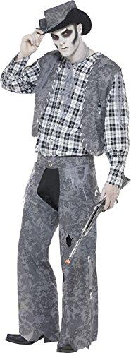 Smiffys, Herren Geister-Cowboy Kostüm, Hut, Halsband, Weste, Oberteil und Hose, Größe: M, (Kostüm Hose Damen Cowboy Für)