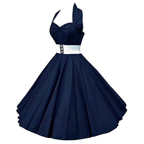 Ghope Robe Rétro Chic Style Halter Sans Manche Vintage années 1950s Audrey Hepburn Robe de Soirée/Cocktail Femme Rockabilly Swing Bleu foncé