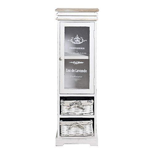 Rustikaler Schrank (Rebecca Mobili weiße Glasvitrine, Standvitrine 1 Tür 2 Weidenkörbe, Holz, im Shabby-Stil, als Wohneinrichtung Haus Bad Eingang - Maße: 104 x 33 x 29 cm (HxLxB) - Art. RE4486)