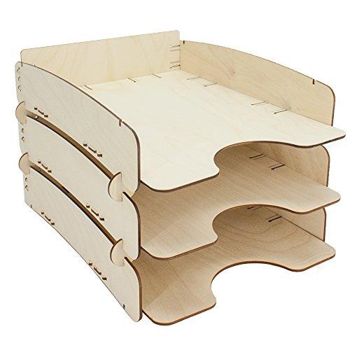 myORGA no.2 Ablage aus Holz stapelbar - 3er Set - MADE IN GERMANY - Briefablage - Ablagefach - Ablagekorb - Format (bxtxh): 25,3 x 35,0 x 7,0 cm