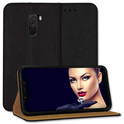 mtb more energy® Δερμάτινη θήκη Bookstyle για Xiaomi Pocophone F1 (6.18 '') | Μαύρο | Αυθεντικό δέρμα Μαγνητικό κλείσιμο Θήκη κάλυψης προστατευτικής δερμάτινης θήκη από πορτοφόλι