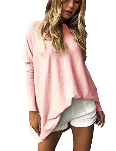 CoCo Fashion Damen Overcome Bluse Fledermaus Langarm Pullover Normallacks Shirt Casual Oberteil Übergröße, Rosa, Gr. XL
