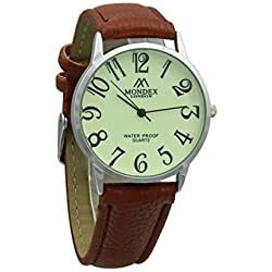 Unisex Silver Plated Mondex / Azaza / MABZ PU Leather Strap Watch (Brown Strap With Luminous Dial)