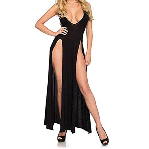 Biancheria donna,fittingran donne ragazza teddy lingerie, donne sexy lungo pigiama gonna intimo camicia completi intimi babydoll (l, nero)
