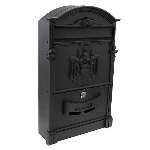 PrimeMatik - Briefkasten Postkasten Retro Antik Vintage metallische Schwarze Farbe für wallmount