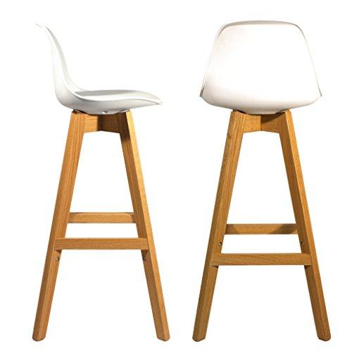 Meubletmoi 2Stück Design Barhocker im skandinavischen Stil, Beine Eiche massiv–Collection Bergen weiß