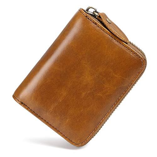 flintronic Kartenetui | Kreditkarten Etuis | Geldbeutel mit RFID Schutz | Leder Kreditkartenetui | 13~Fächer Reißverschluss-Etui Geldbörse für Damen und Herren (Kaffee)