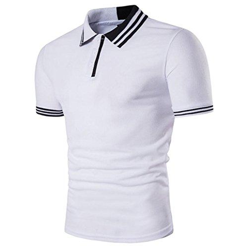 Holeider Männer Solide Polo Kurzarm T-Shirt Top Bluse Beiläufige Dünne Sommermode 2018 (L, Weiß) (Steigbügel-shirt Bleibt)