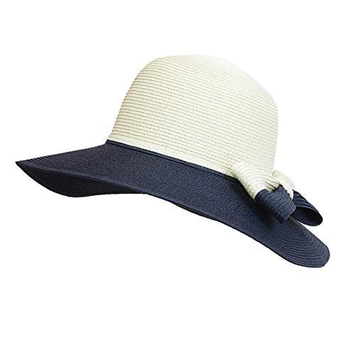 Columbia Womens Visor (SUNDLSNJCS Fashion Bicolor Sun Hat Bow Handmade Woman Straw Hat Wide-Brimmed Cap Beach Hats Casual Girl Folding Beach Visor Chapeau Navy Blue)