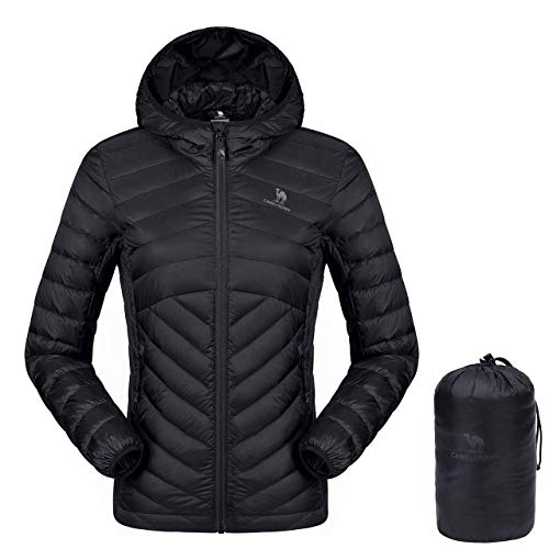 41LeO22vJqL. SS500  - CAMEL CROWN Women's Down Jacket Lightweight Packable Hooded Windproof Winter Warm Quilted Coat Full-Zip Insulated Coat with Pocket for Leisure Sports Travel Outdoor Black Purple