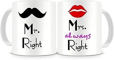 Printelligent Khirki Mr. & Mrs. Right Couples Ceramic Printed Coffee Mug Perfect Gift ,Set Of 2