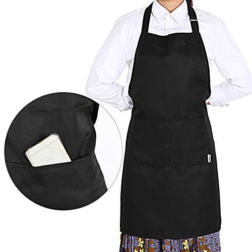 GWHOLE Delantal Cocina impermeables 2 Bolsillos Negro