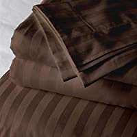 Cloth Fusion Amor Satin Striped 210 TC Cotton Bedsheet with 2 Pillow Covers- King/Dark Brown