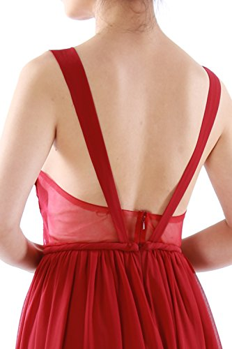 MACloth Women Mini Prom Dress Sexy V Neck Chiffon Cocktail Party Formal Gown Champagner