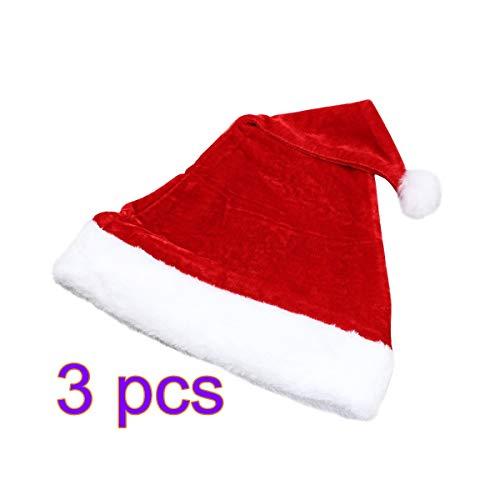 MENGZHEN 3 STÜCK Red Christmas Santa Hut Weihnachtsmütze Weihnachten Urlaub Thema Kostüm Weiche Hüte Haarschmuck