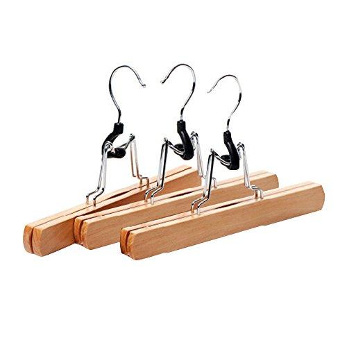 BESTONZON 3Pcs Natural Solid Wood Pants Kleiderbügel Rock Kleiderbügel Clips Slack Hanger, 30 × 16cm -