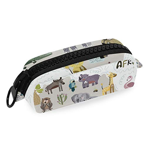 Stifteetui/Stifteetui, Elefant, Zebra, mit großem Reißverschluss, Leinen, für Teenager, Mädchen, Jungen, Schule, Studenten, Schreibwaren