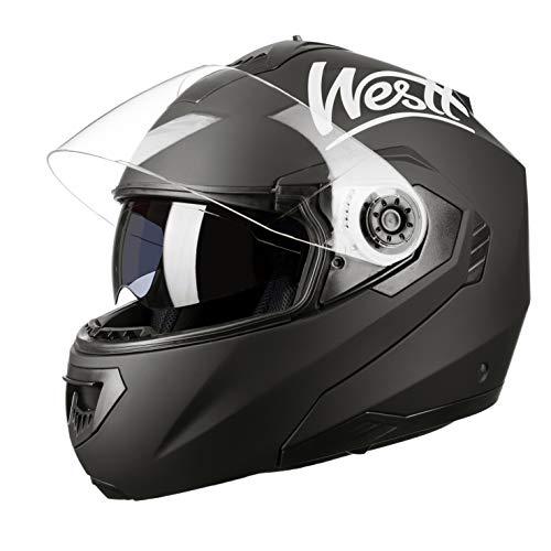 Westt Torque W · Casco Moto Modular Integral con Doble Visera en Negro Mate · Casco de Moto Motoclicleta Ciclomotor · ECE Homologado