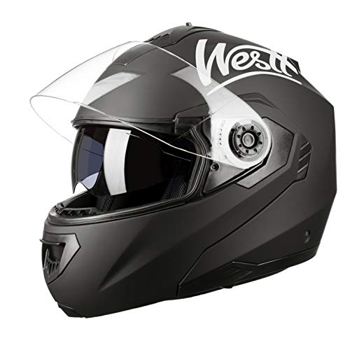 Westt Torque Z · Klapphelm Integralhelm Motorradhelm mit Doppelvisier in Schwarzmatte · Motorrad helme Roller Scooter · ECE zertifikiert