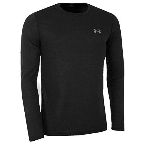 Under Armor 2017 Threadborne HeatGear Tailliert Langarmshirt Herren Trainings-Shirt Schwarz