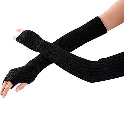 JFCUICAN Handschuhe Stretch Strickfäustlinge Frauen Lange Handschuhe for Winter-Handgelenk-Arm-Wärmer-Touch Screen Lange Fingerlose Handschuhe (Color : K Black, Size : 1) -