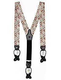 Classy elegant wide adjustable suspenders for men. Y shape with strong metal clips and leather button tabs
