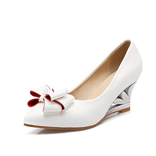 VogueZone009 Damen Ziehen Auf Spitz Zehe Mittler Absatz Lackleder Rein  Pumps Schuhe Weiß