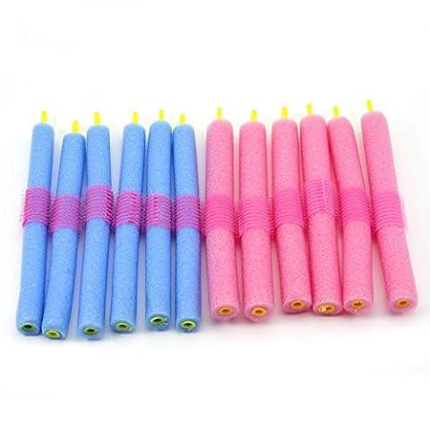 12 pcs Rouleaux Bigoudis - Bigoudis Flexibles en mousses 15x1.5cm Pour les cheveux secs / humides