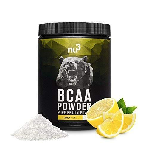 nu3 BCAA en polvo | 400g sabor limón | 40 porciones de aminoácidos ramificados | Proporción óptima de leucina, isoleucina y valina en balance 2:1:1 | Suplemento deportivo | Nutrición deportiva vegana