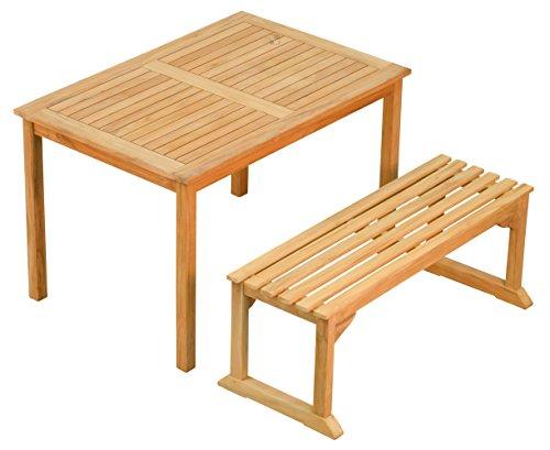 Kai Wiechmann e.K. Sitzgruppe 2 Tlg. aus massivem Teakholz ? 1x Bank + 1x Tisch ? Wetterfest ? Nachhaltiges Plantagenholz ? Klassisch geformte Balkon-Gruppe, Sitzgruppe aus Holz