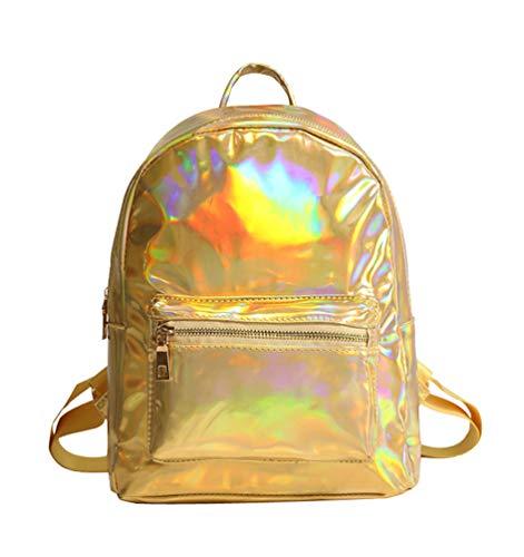 Schulrucksack für Mädchen Fashion Rucksäcke Daypacks Damen Rucksackhandtaschen College Reisen Holographisch Schultertasche Kinderrucksäcke Schultaschen Gold