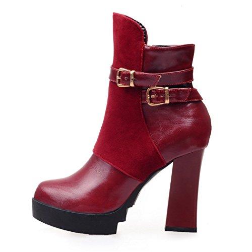 Zq @ Qx En Otoño E Invierno, La Cabeza Redonda Gruesa De Taiwán Gruesa Con Los Zapatos De Tacón Alto La Moda De La Hebilla De Seguridad Delantera Frente Cremallera Lateral, Botines Rojos
