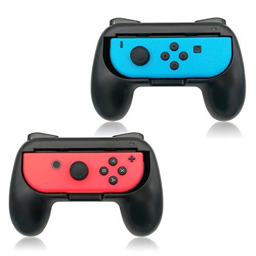 Poignées Fyoung Joy-Con pour Nintendo Switch (2 packs), Poignée Controller pour Nintendo Switch, pour Mario Kart 8, Super Mario Odyssey, Fire Emblem Warriors, Pokken Tournament DX (Sans contrôleur à l'intérieur) – Noir