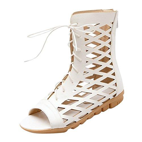 Mee Shoes Damen open toe Reißverschluss Sommerstiefel Weiß