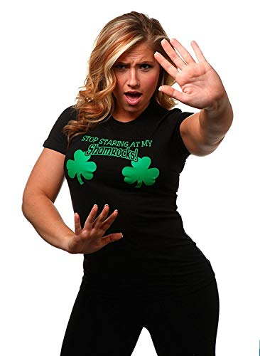 Women T Shirt Juniors Stop Staring at My Shamrocks Funny Sexy St. Patrick's Day ()