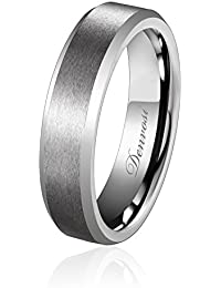 51b9c74b7c4c Denvosi 6MM Men Wedding Band Tungsten Ring Matte Brushed Silver Surface  High Polished Inner Face Beveled