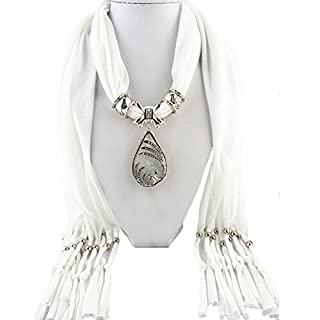 ANDAY Women's Luxury Double Phoenix Teardrop Resin Stone Pendant Scarf Necklace White