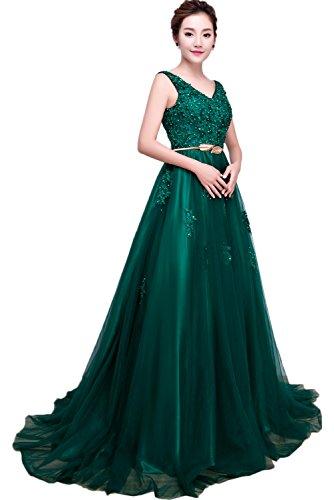 Gorgeous Bride Modisch Abendmode Lang Tüll Spitze A-Linie V-Ausschnitte Abendkleider Cocktailkleider Ballkleider Dunkelgrün